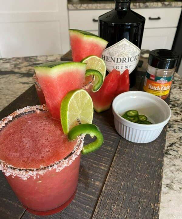 Icy, Spicy Watermelon Jalapeño Gin Splash (with a mocktail option)