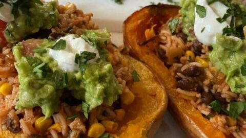 Out of Our Comfort Zone with Vegetarian Mexican Stuffed Butternut Squash